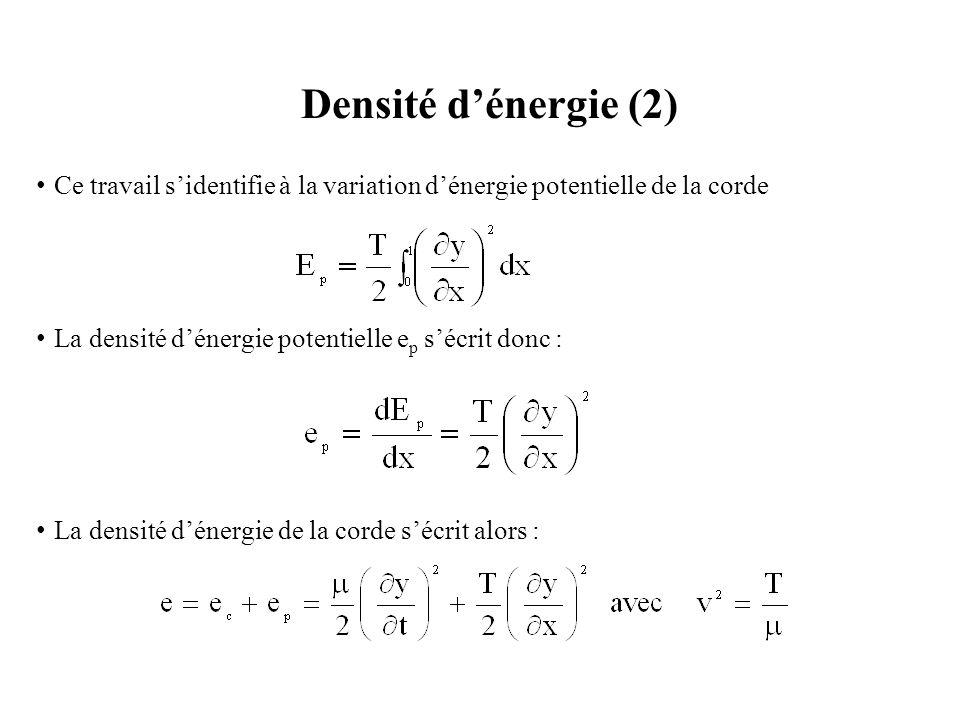 Densité d'énergie (2) Ce travail s'identifie à la variation d'énergie potentielle de la corde. La densité d'énergie potentielle ep s'écrit donc :