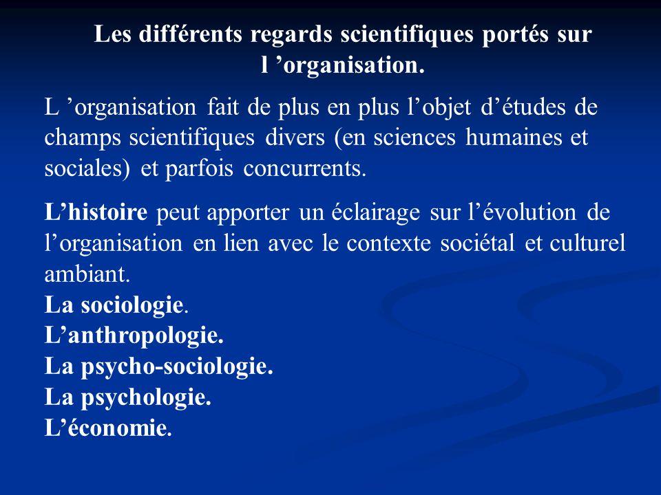 Les différents regards scientifiques portés sur l 'organisation.