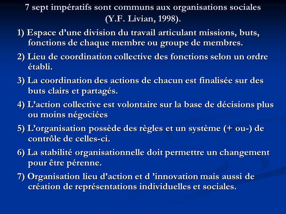 7 sept impératifs sont communs aux organisations sociales (Y. F