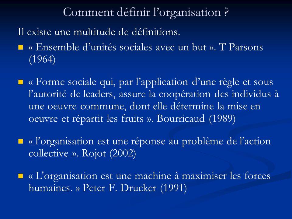 Comment définir l'organisation