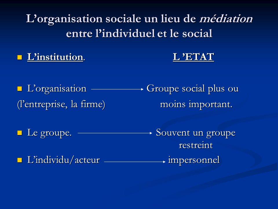 L'organisation sociale un lieu de médiation entre l'individuel et le social