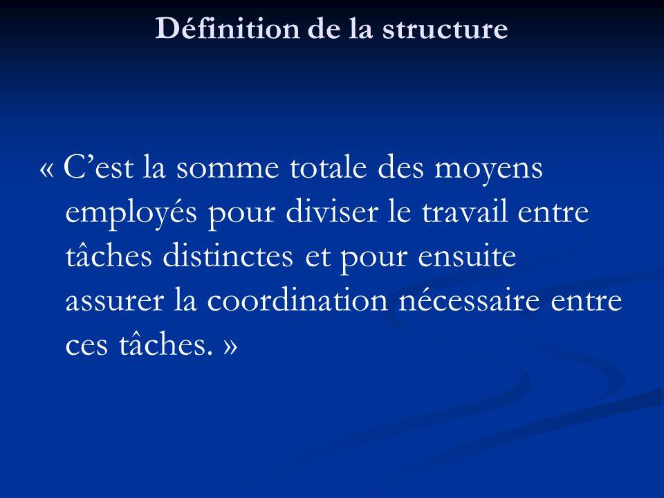 Définition de la structure