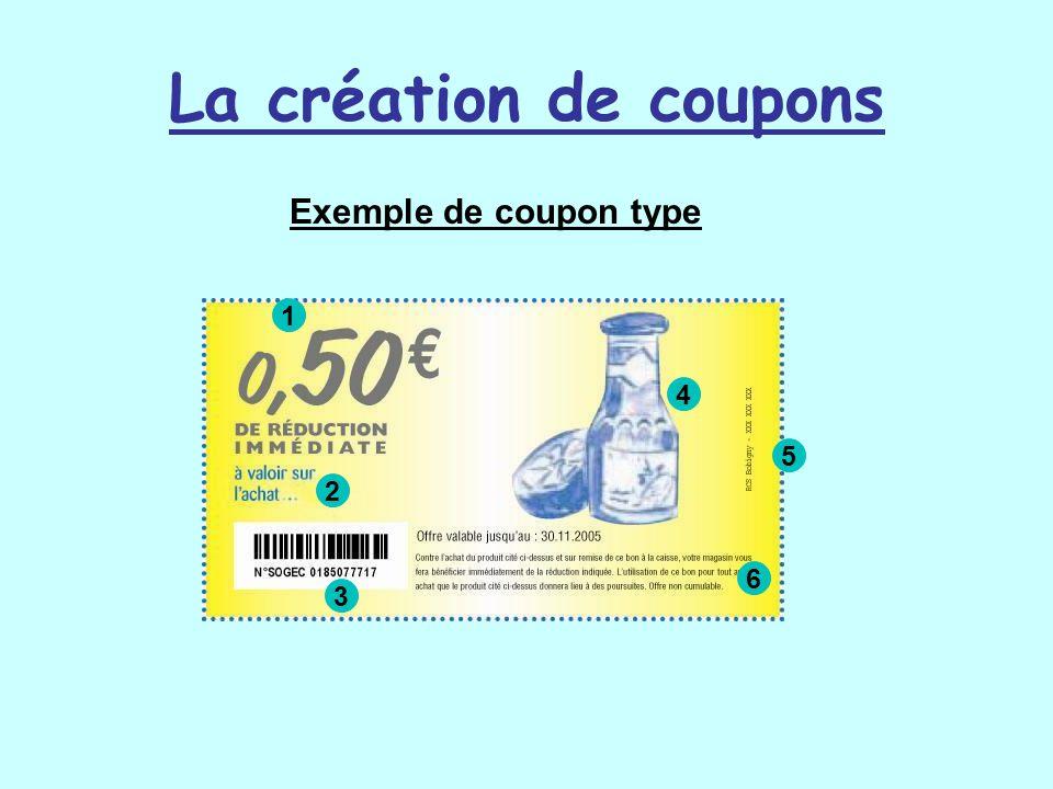 La création de coupons Exemple de coupon type 1 4 5 2 6 3