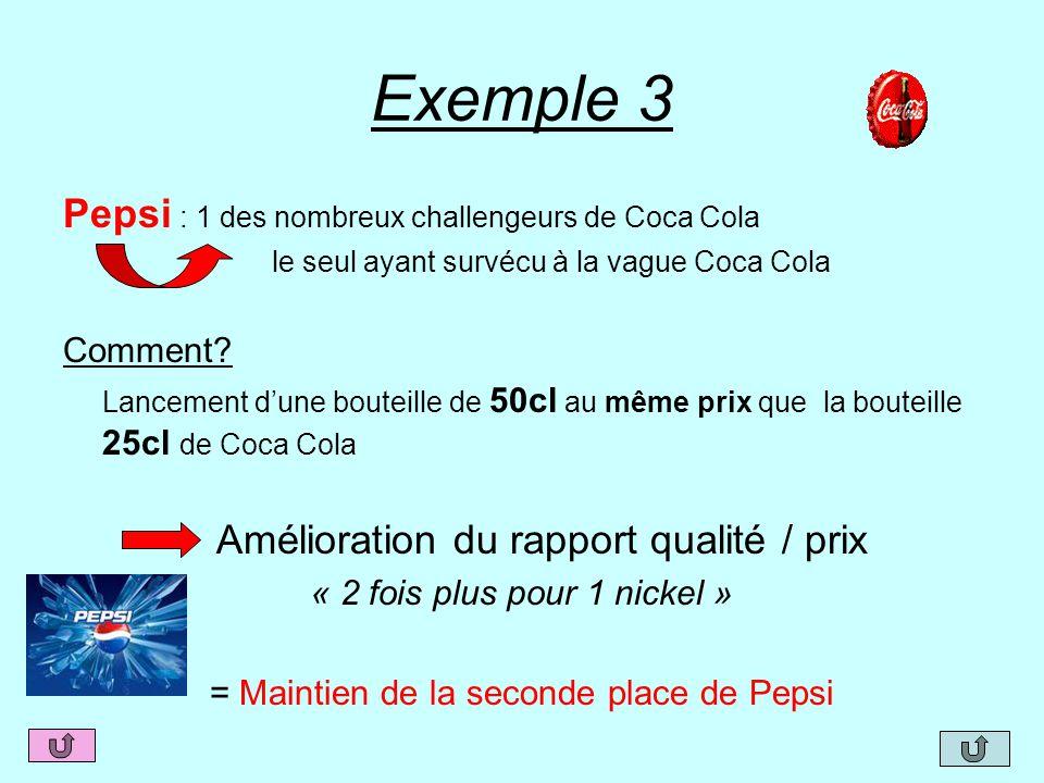 Exemple 3 Pepsi : 1 des nombreux challengeurs de Coca Cola