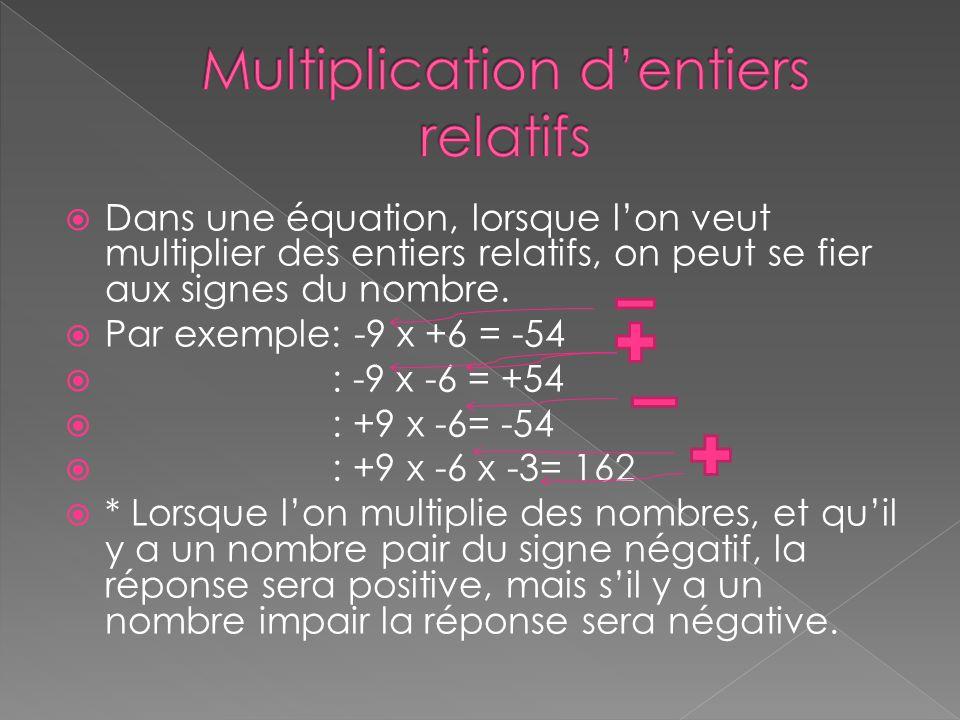 Multiplication d'entiers relatifs