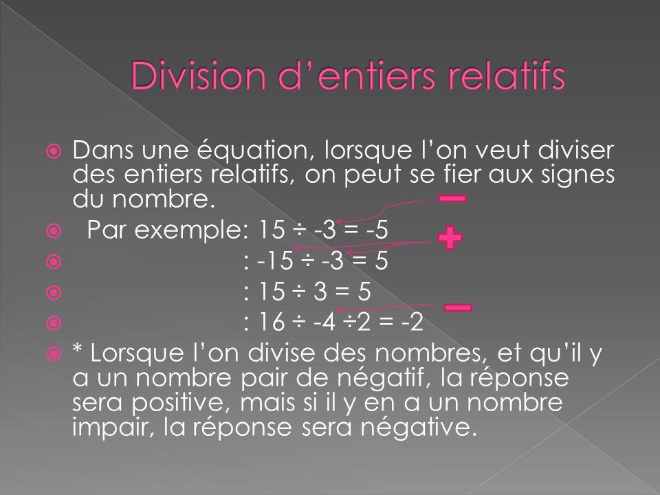 Division d'entiers relatifs