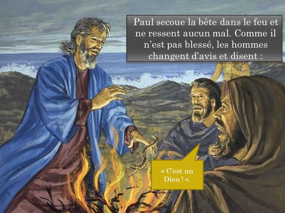 Paul secoue la bête dans le feu et ne ressent aucun mal