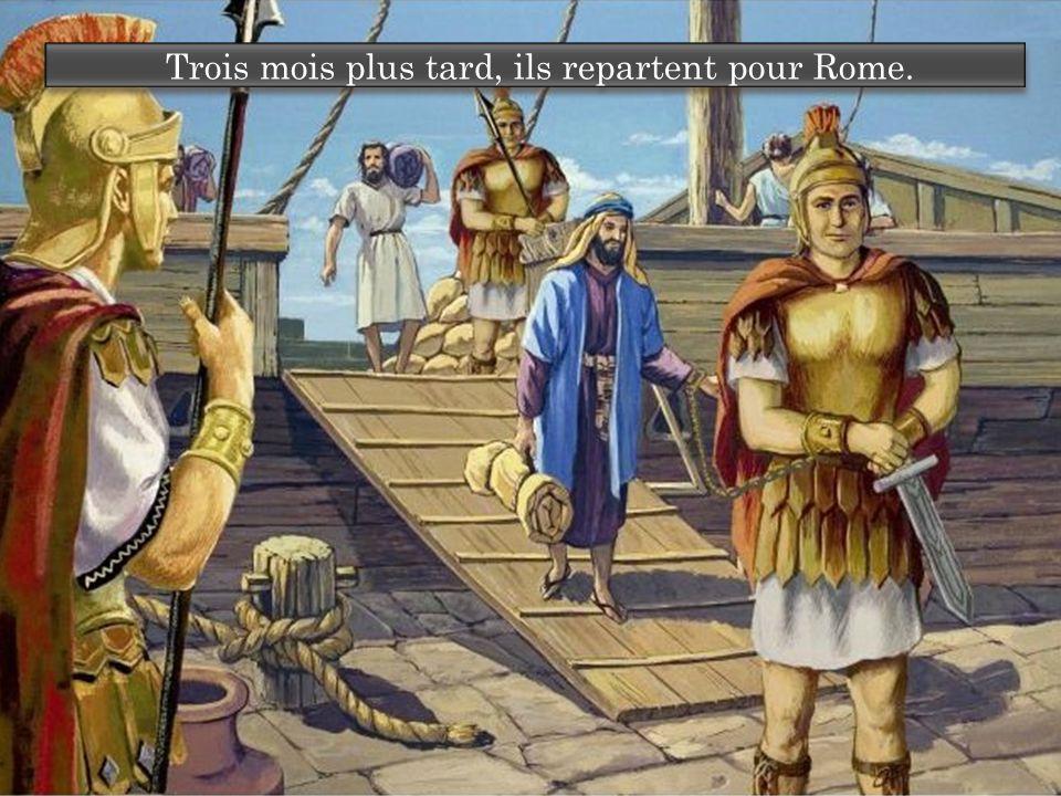 Trois mois plus tard, ils repartent pour Rome.