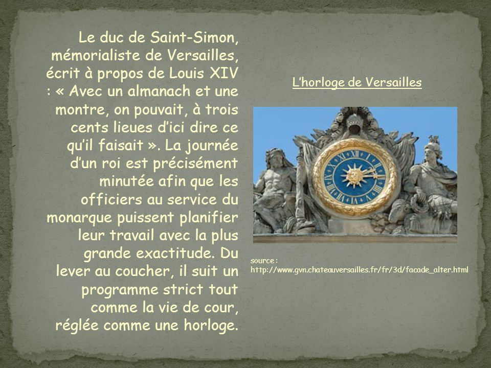 L'horloge de Versailles