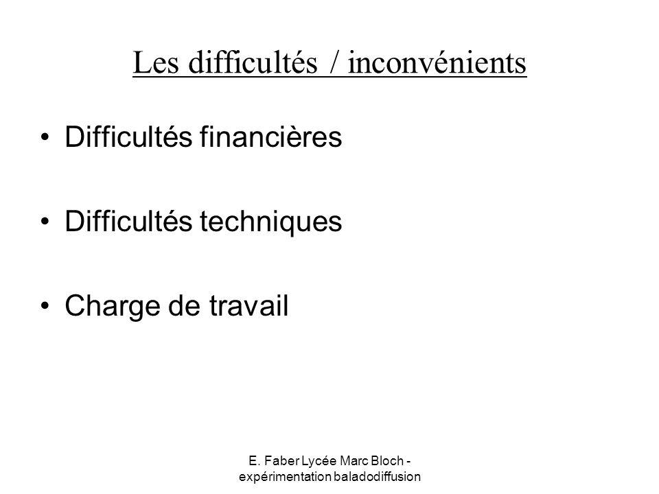 Les difficultés / inconvénients