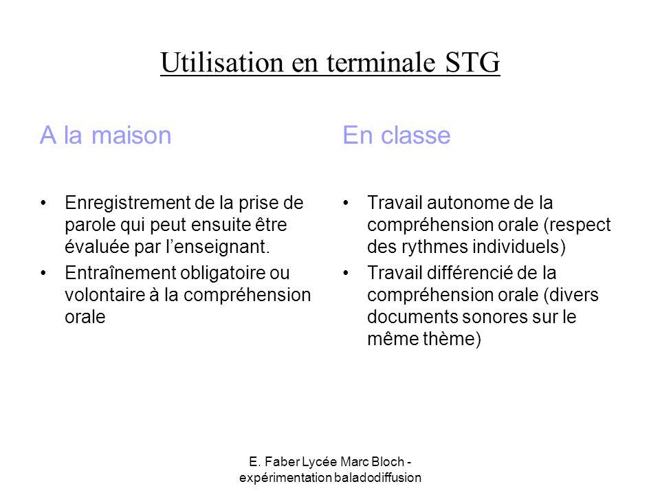 Utilisation en terminale STG