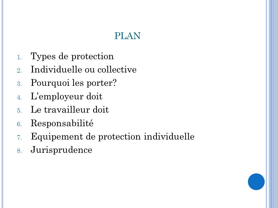 plan Types de protection Individuelle ou collective