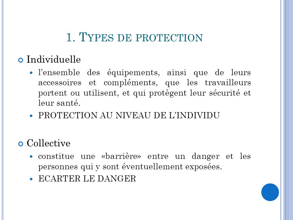 1. Types de protection Individuelle Collective