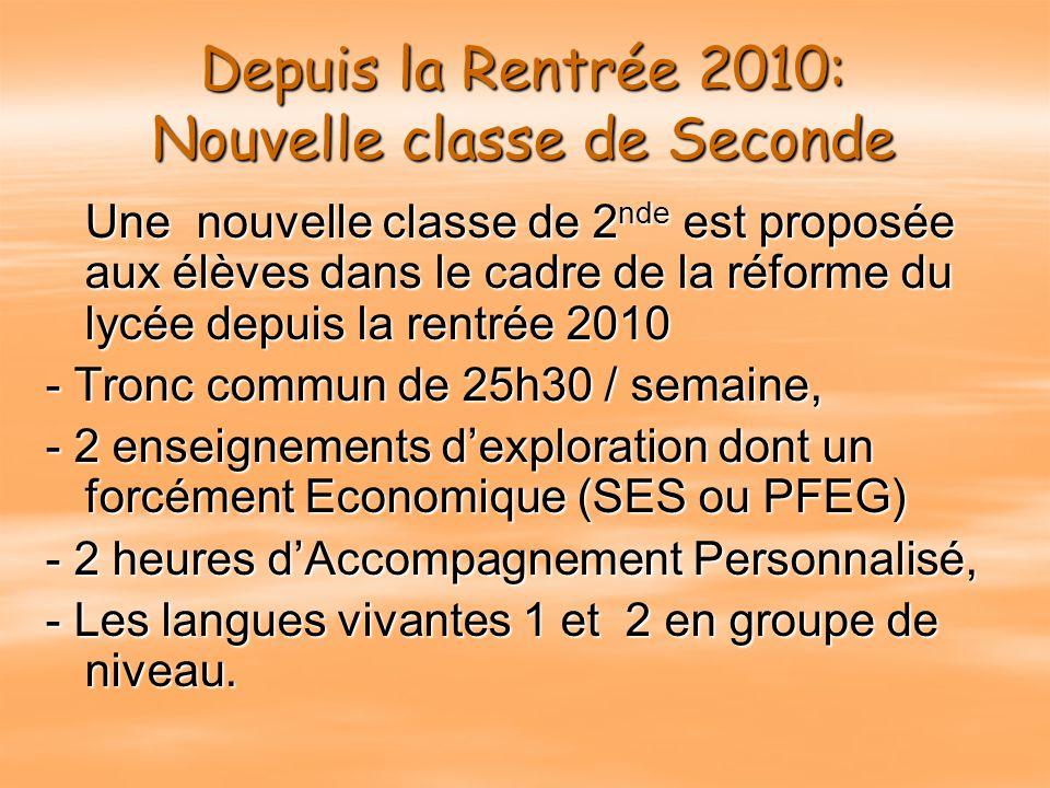 Depuis la Rentrée 2010: Nouvelle classe de Seconde