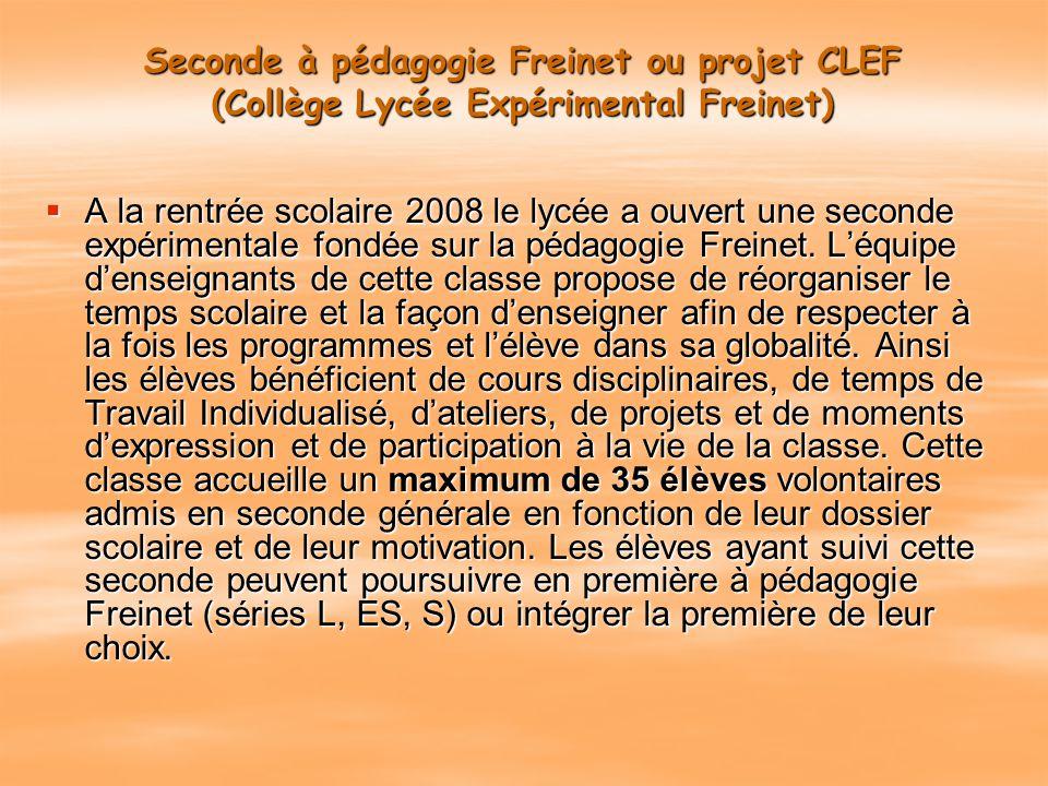 Seconde à pédagogie Freinet ou projet CLEF (Collège Lycée Expérimental Freinet)