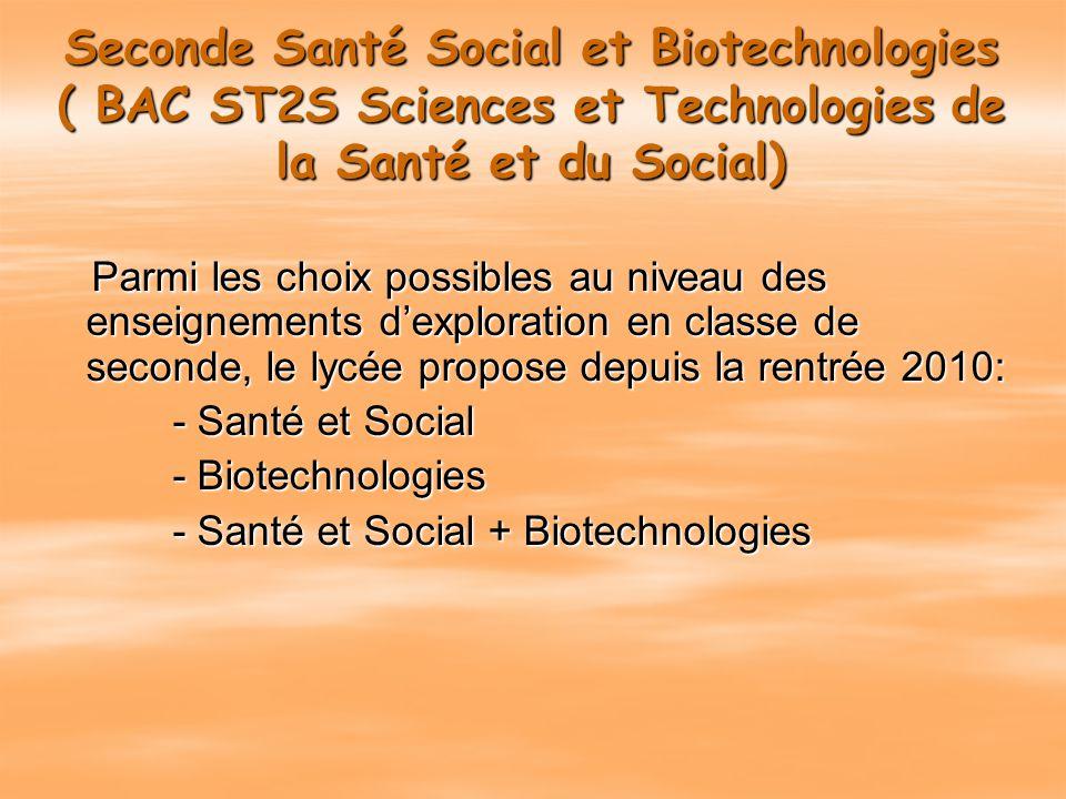Seconde Santé Social et Biotechnologies ( BAC ST2S Sciences et Technologies de la Santé et du Social)