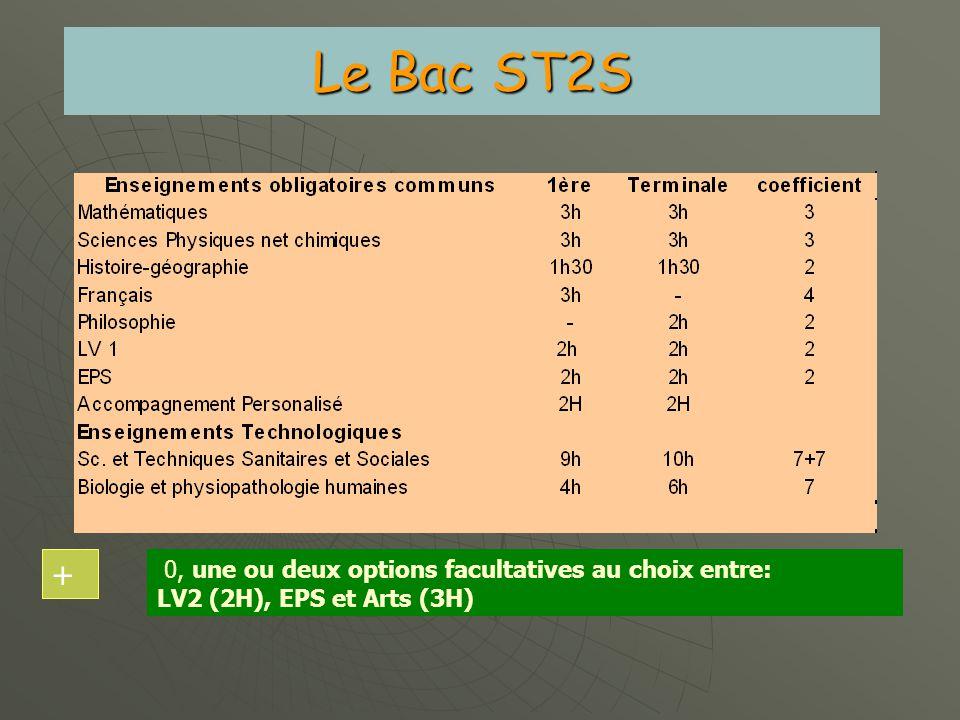 Le Bac ST2S + 0, une ou deux options facultatives au choix entre: