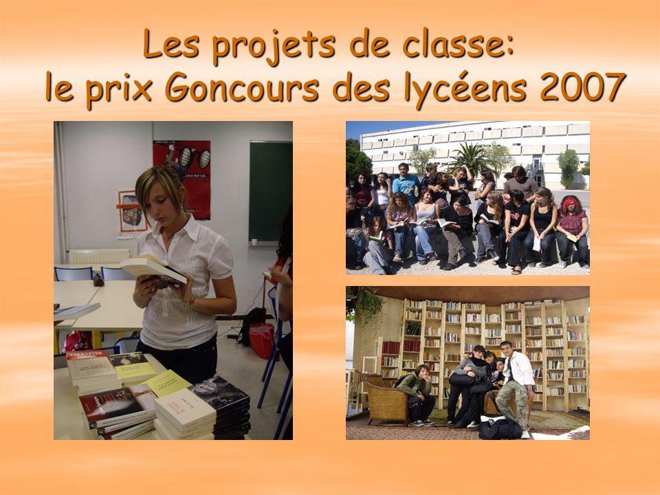 Les projets de classe: le prix Goncours des lycéens 2007