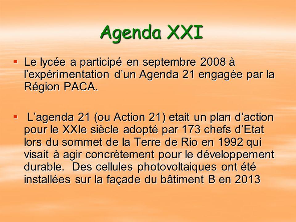 Agenda XXI Le lycée a participé en septembre 2008 à l'expérimentation d'un Agenda 21 engagée par la Région PACA.