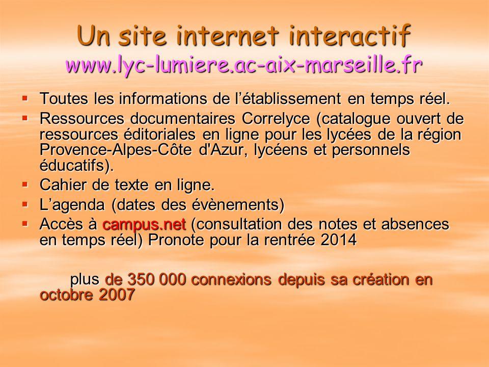 Un site internet interactif www.lyc-lumiere.ac-aix-marseille.fr