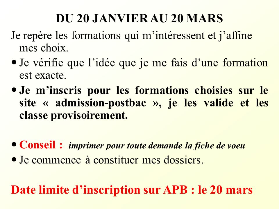 Date limite d'inscription sur APB : le 20 mars