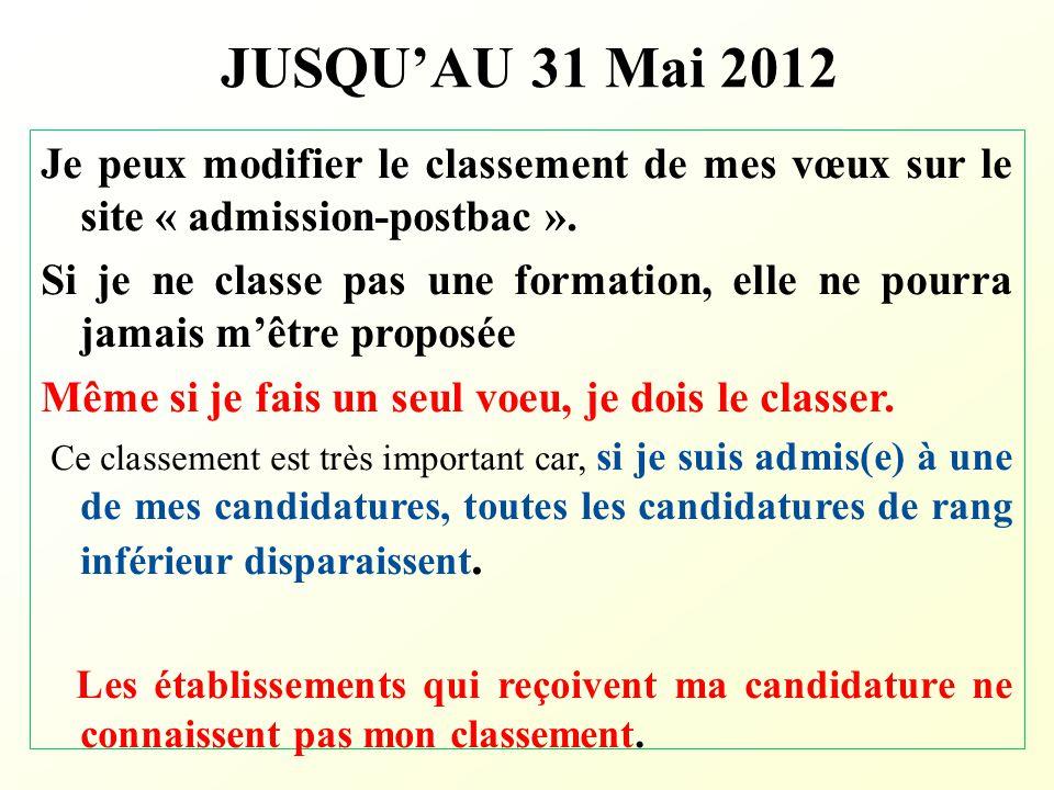 JUSQU'AU 31 Mai 2012 Je peux modifier le classement de mes vœux sur le site « admission-postbac ».