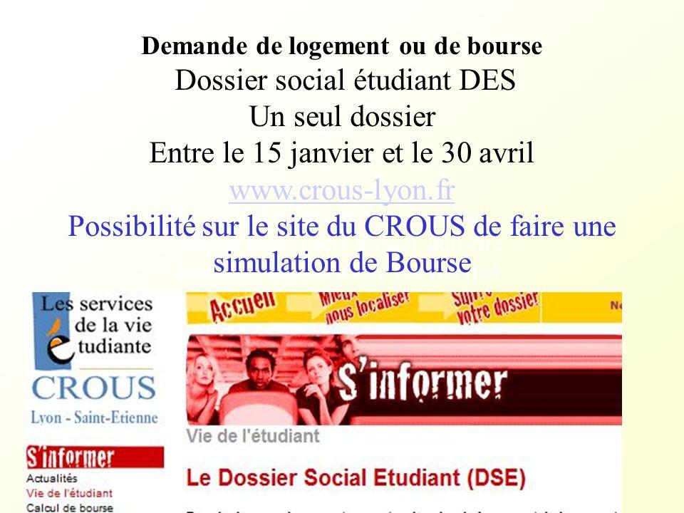Dossier social étudiant DES Un seul dossier
