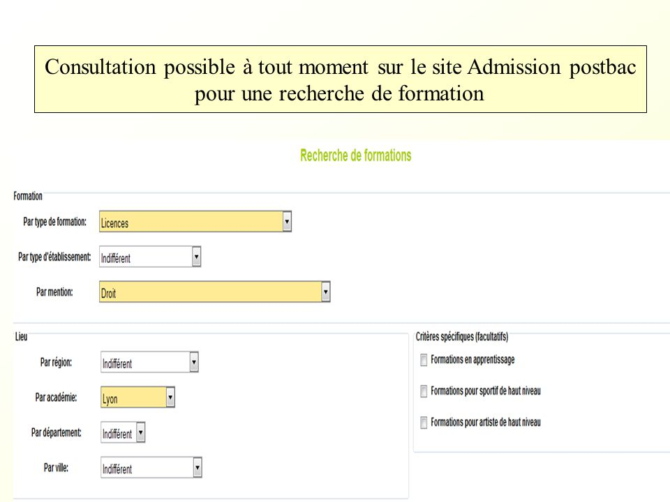 Consultation possible à tout moment sur le site Admission postbac