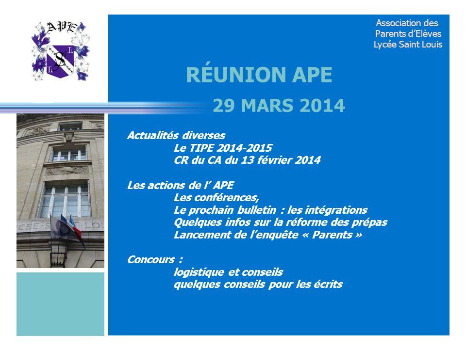 Réunion APE 29 mars 2014.