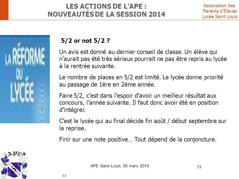 Les ACTIONS DE L'ape : nouveautés de la session 2014