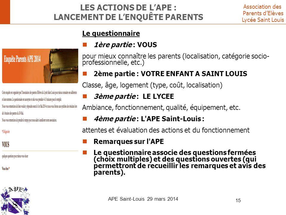 Les ACTIONS DE L'ape : LANCEMENT DE L'ENQUÊTE PARENTS