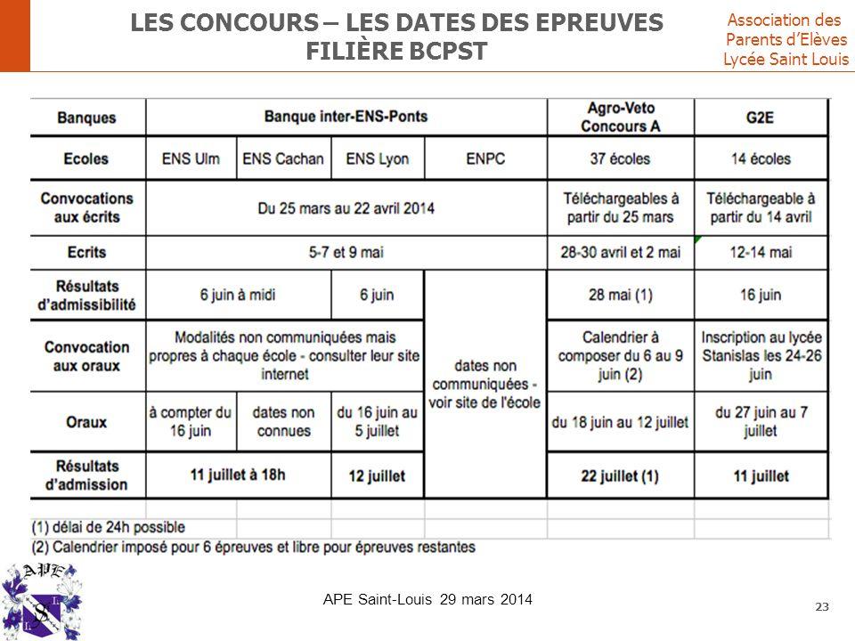 Les concours – les DATES DES EPREUVES FILIère bcpst