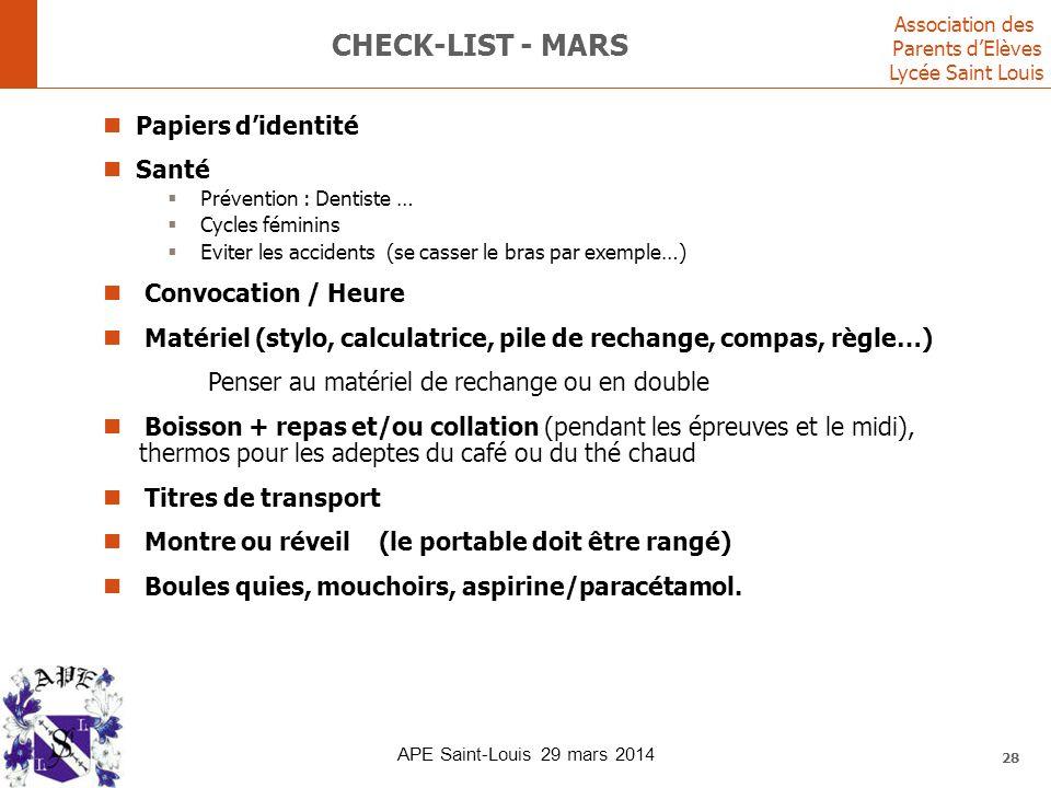 Check-list - mars Papiers d'identité Santé Convocation / Heure
