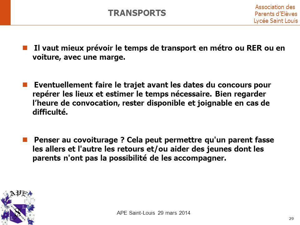 transports Il vaut mieux prévoir le temps de transport en métro ou RER ou en voiture, avec une marge.