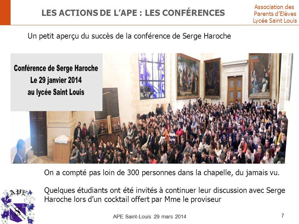 lES ACTIONS DE L'APE : les conférences