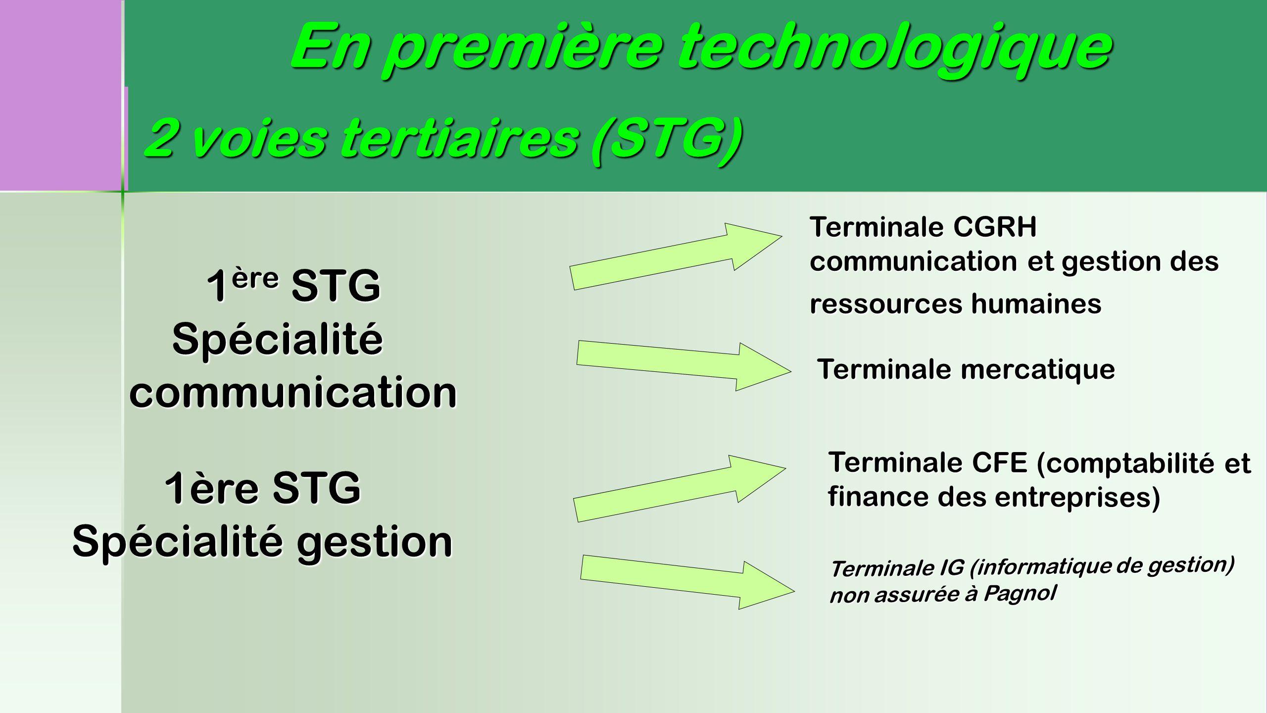 2 voies tertiaires (STG)