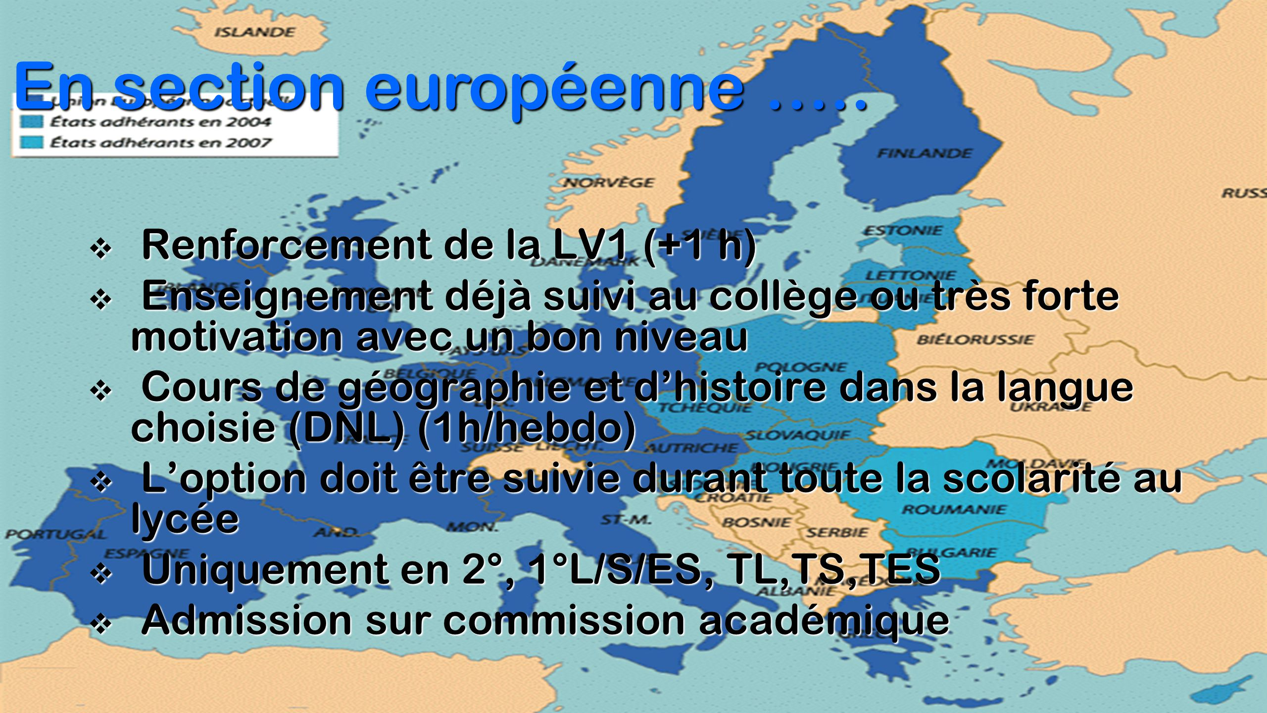 En section européenne …..