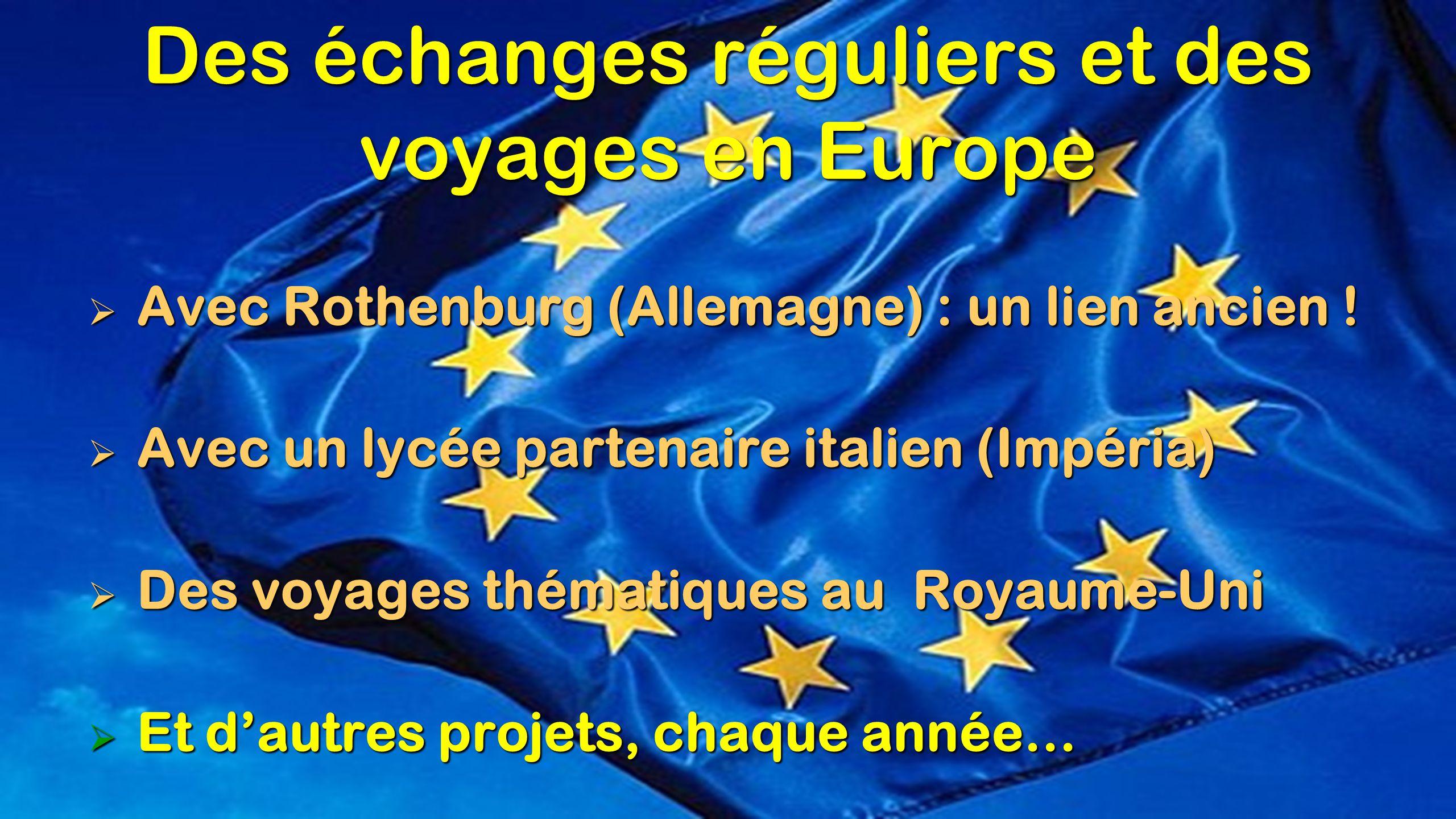 Des échanges réguliers et des voyages en Europe