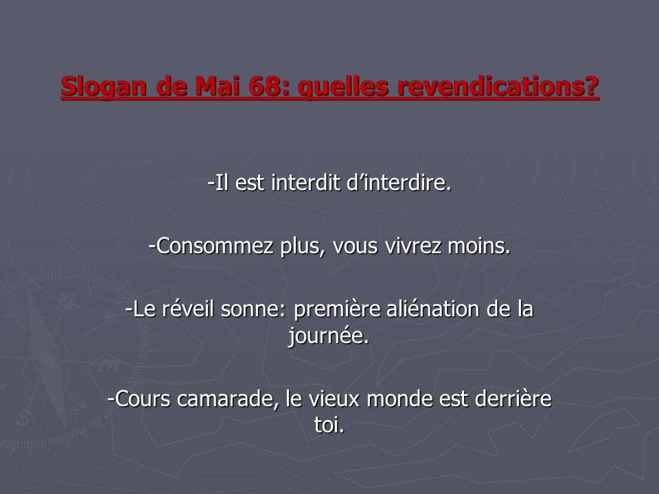 Slogan de Mai 68: quelles revendications