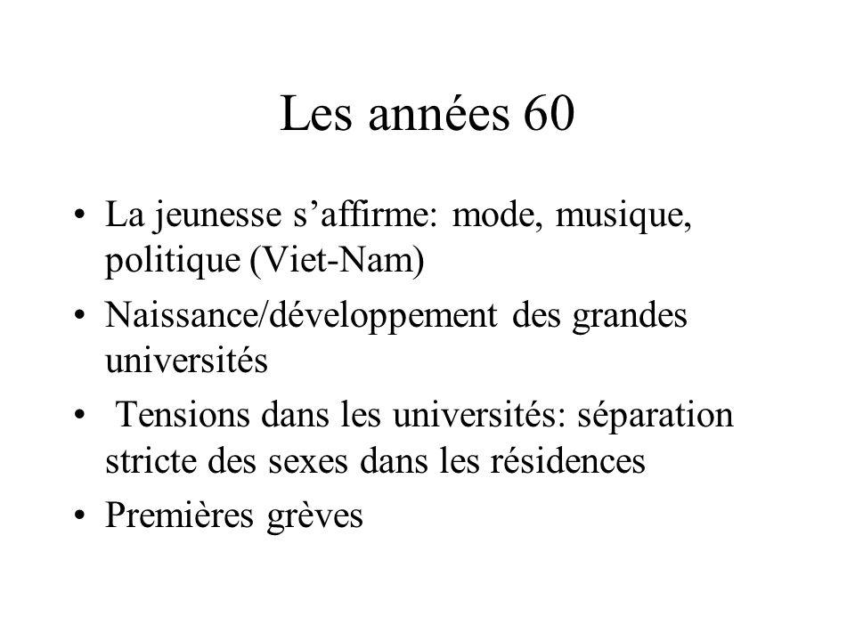 Les années 60 La jeunesse s'affirme: mode, musique, politique (Viet-Nam) Naissance/développement des grandes universités.