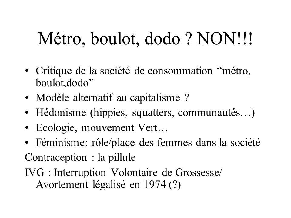 Métro, boulot, dodo NON!!! Critique de la société de consommation métro, boulot,dodo Modèle alternatif au capitalisme