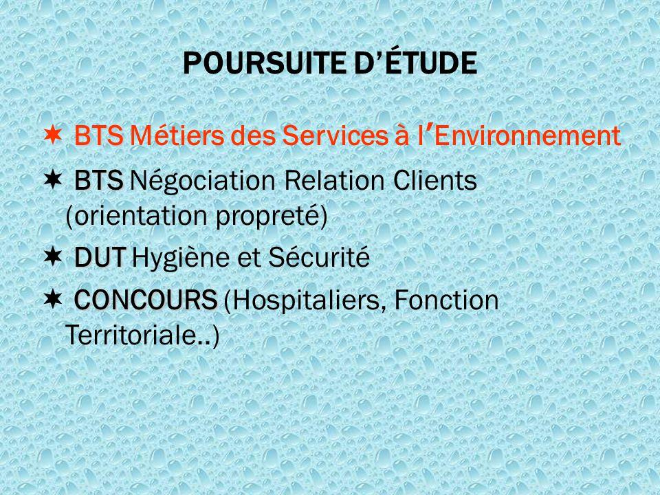 POURSUITE D'ÉTUDE  BTS Métiers des Services à l'Environnement