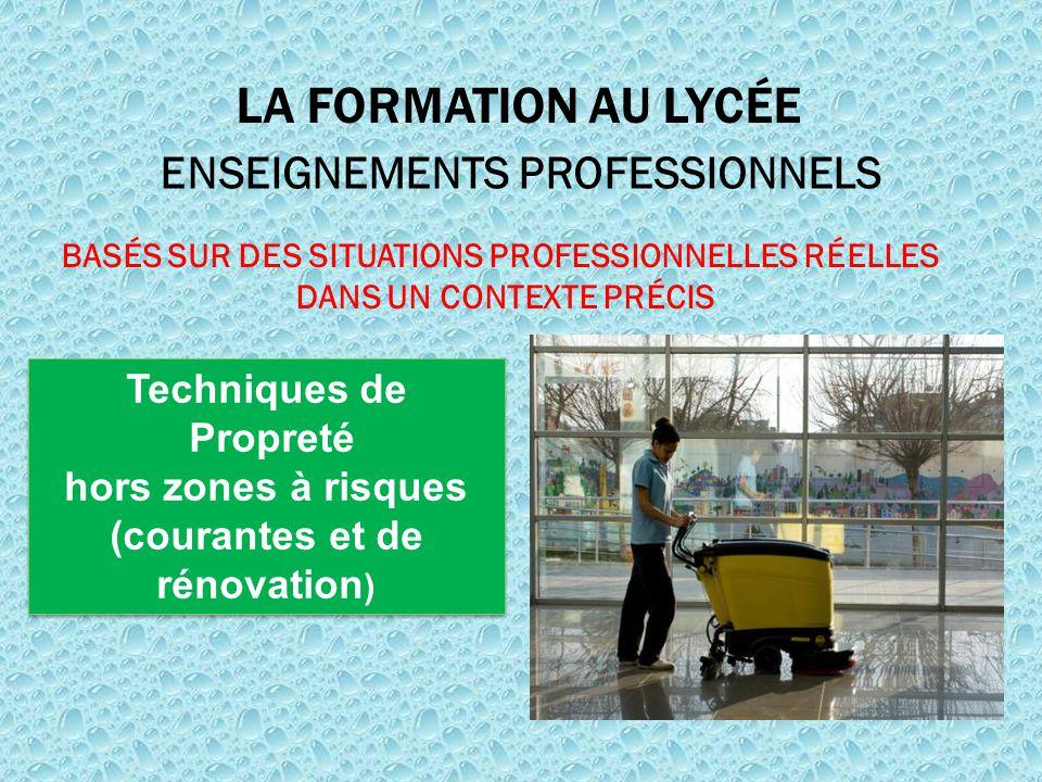 LA FORMATION AU LYCÉE ENSEIGNEMENTS PROFESSIONNELS Techniques de