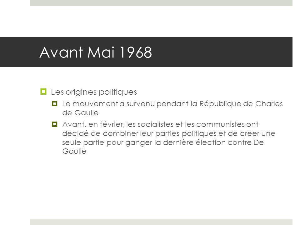 Avant Mai 1968 Les origines politiques