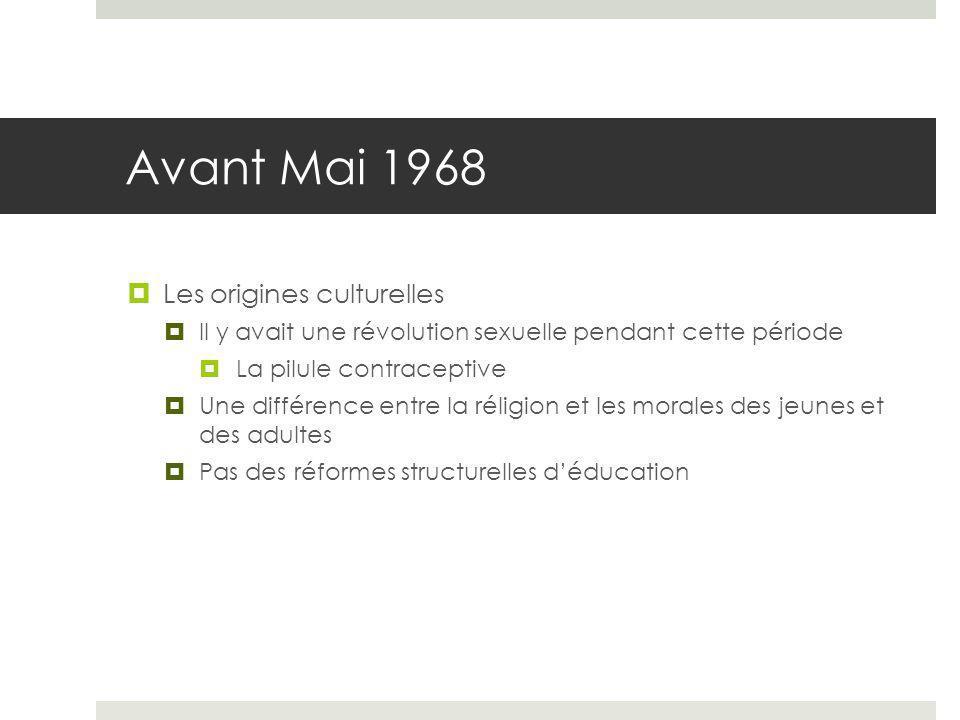 Avant Mai 1968 Les origines culturelles