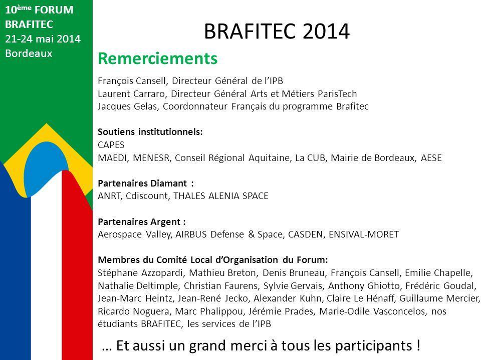 BRAFITEC 2014 Remerciements