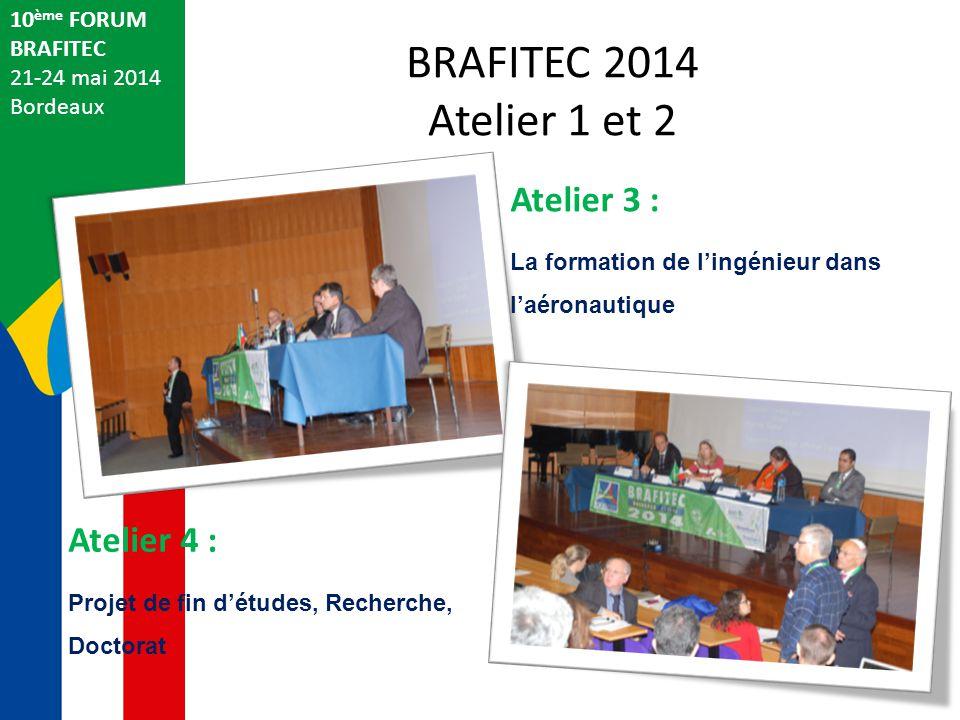 BRAFITEC 2014 Atelier 1 et 2 Atelier 3 : Atelier 4 : 10ème FORUM