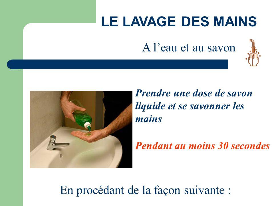 LE LAVAGE DES MAINS A l'eau et au savon