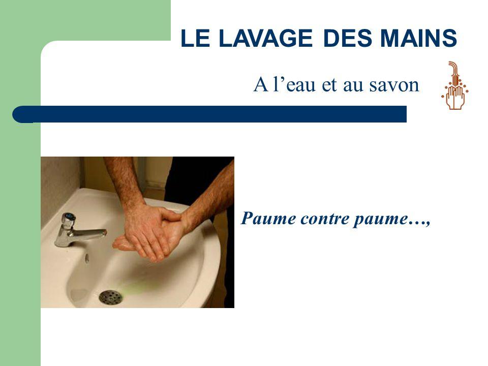 LE LAVAGE DES MAINS A l'eau et au savon Paume contre paume…,