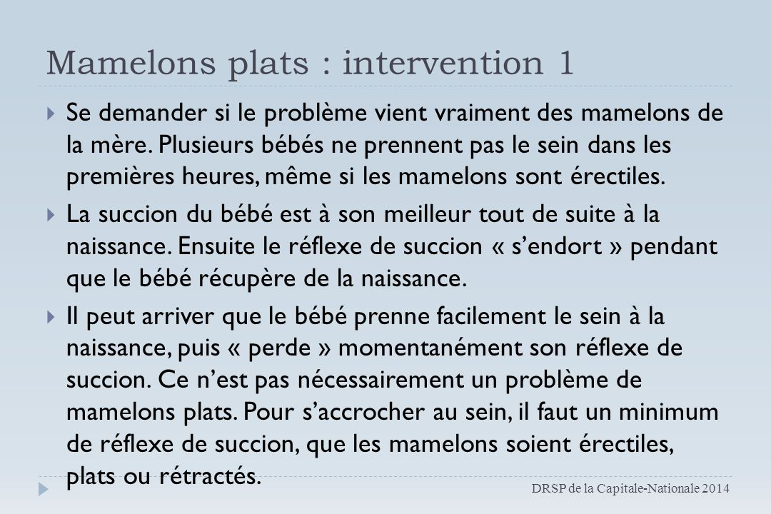 Mamelons plats : intervention 1